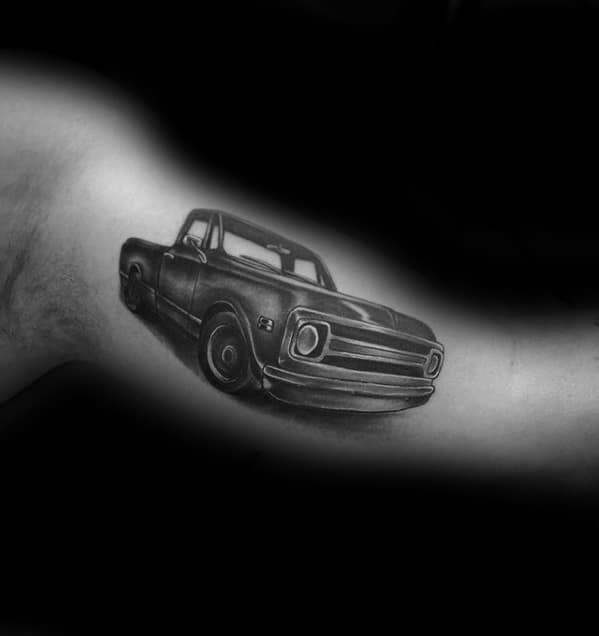 Unique Guys Chevy Truck Tattoo Design On Bicep Of Arm