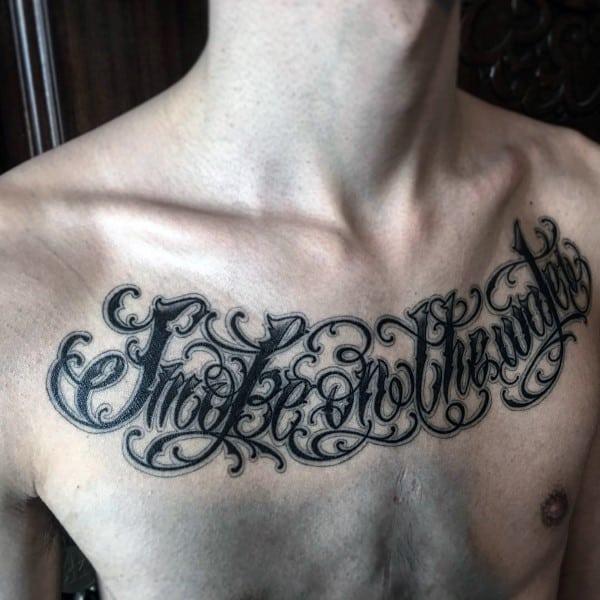 Unique Guys Complex Script Upper Chest Tattoo Wording Design