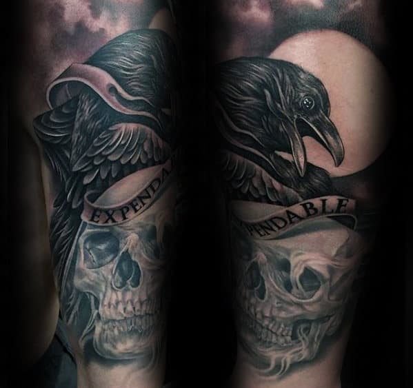 Unique Guys Expendables Black Crow And Skull Forearm Sleeve Tattoo