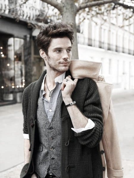 Unique Guys Fall Outfits Style Ideas Grey Vest With Black Cardigan