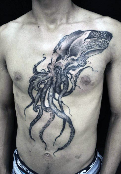 Unique Guys Full Chest Squid Tattoo