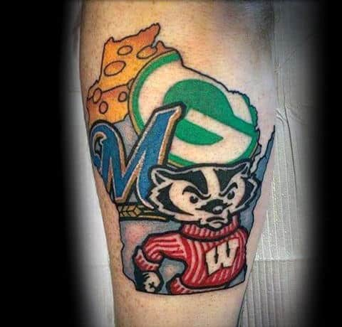 Unique Guys Green Bay Packers State Outlien Leg Tattoos