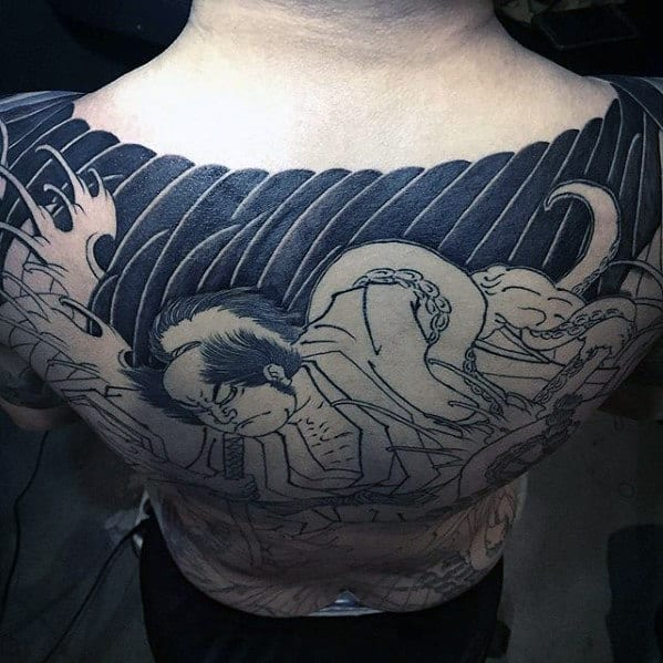Unique Guys Japanese Black Ink Upper Back Tattoos