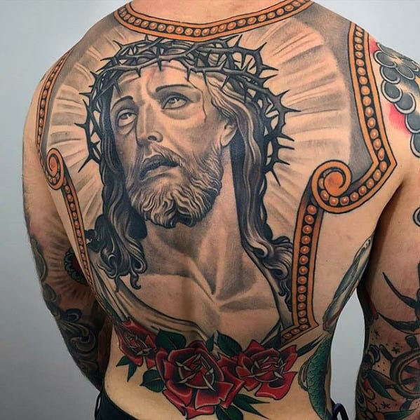 Unique Guys Jesus Picture Frame Back Tattoo With Old School Deisgn