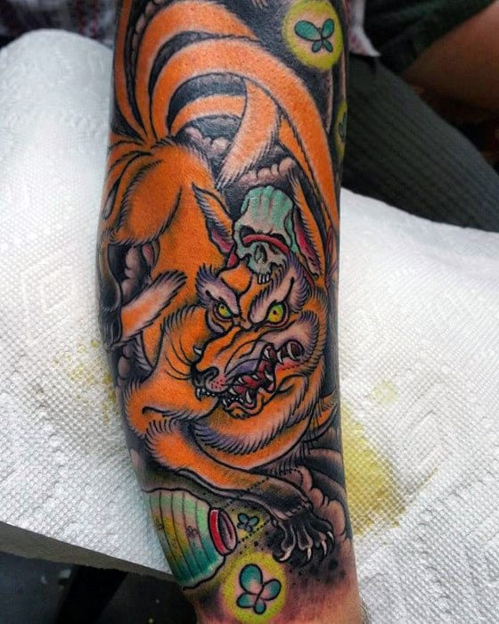 Unique Guys Kitsune Leg Tattoo Ideas