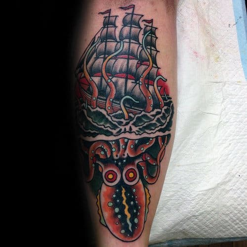 Unique Guys Leg Sailing Ship Octopus Traditional Tattoo Inspiration