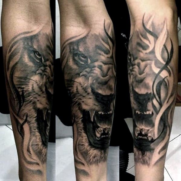 Unique Guys Lion Tattoo On Forearm