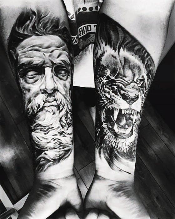 Unique Guys Lion With Greek God Tattoo On Forearms