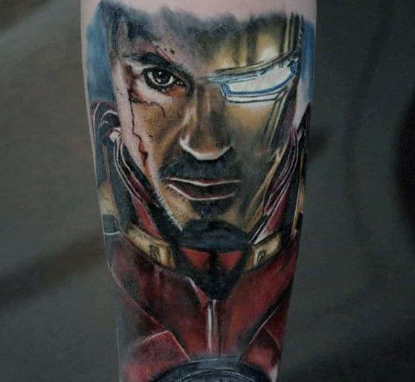 Unique Guys Marvel Ironman Forearm Tattoo