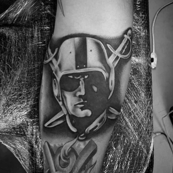 Unique Guys Oakland Raiders Tattoo Designs On Arm