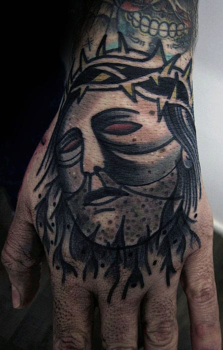 Unique Guys Old School Hand Tattoo With Jesus Design