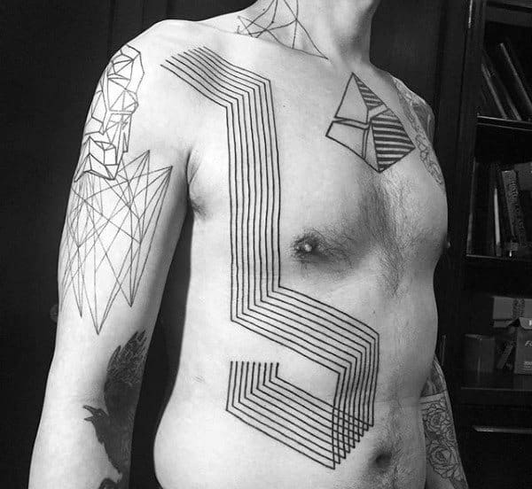 Unique Guys Original Linework Geometric Chest Tattoo
