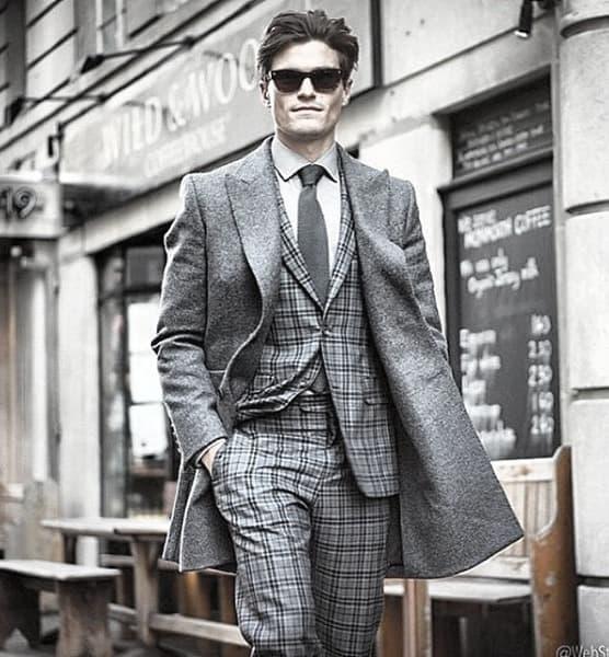 Unique Guys Plaid Grey Suit Style Ideas