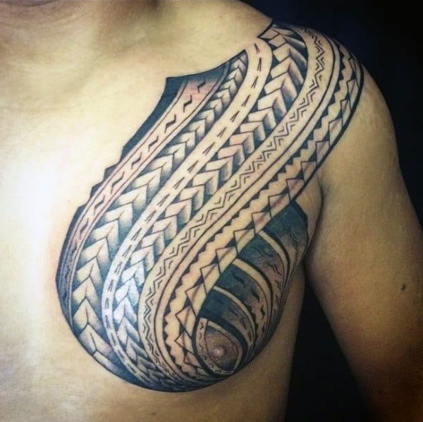 Unique Guys Polynesian Chest Tattoos