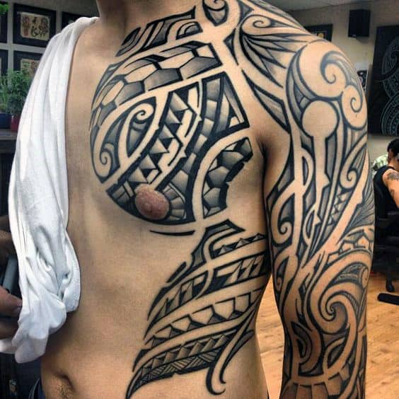 Unique Guys Polynesian Tattoo Design Ideas On Chest