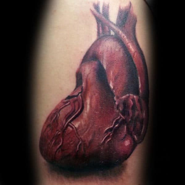 Unique Guys Realistic Heart Arm Tattoo Designs