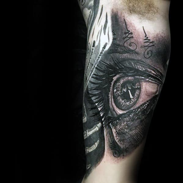 Unique Guys Realistic Inner Arm Bicep Tattoo Inspiration