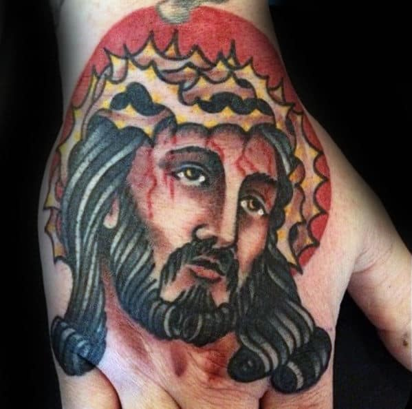 Unique Guys Red Circle Traditonal Hand Jesus Tattoos