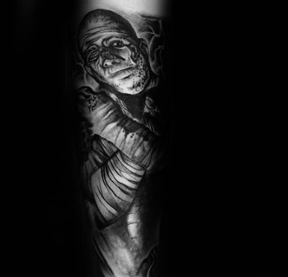 Unique Guys Shaded Mummy Portrait Inner Forearm Sleeve Tattoo