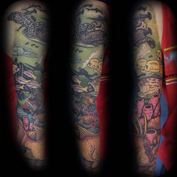 Unique Guys Sleeve Tattoo With Ocean Themed Design