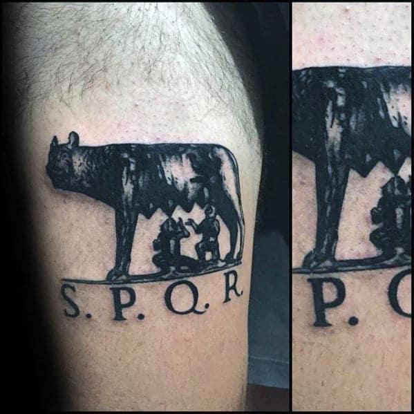Unique Guys Spqr Tattoo On Arm