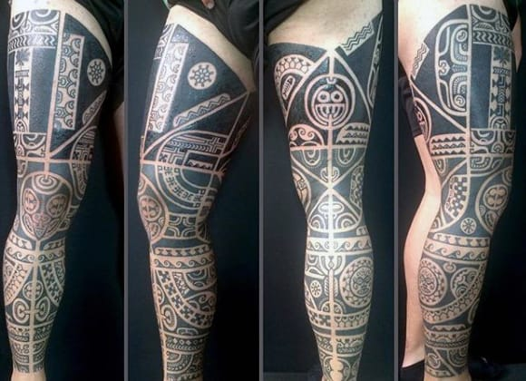 Unique Guys Tribal Sleeve Thigh Tattoo Design Ideas