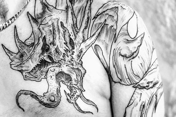 Unique Gyarados Guys Black And Grey Shoulder Tattoo