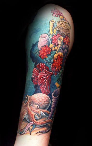 Unique Half Sleeve Coral Reef Tattoo On Male