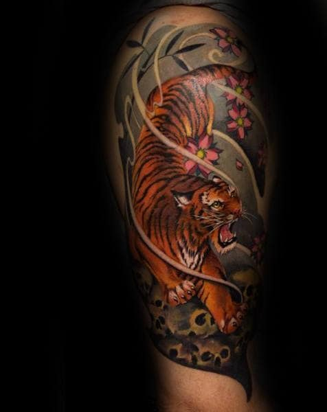 Unique Half Sleeve Japanese Tiger Tattoos For Males