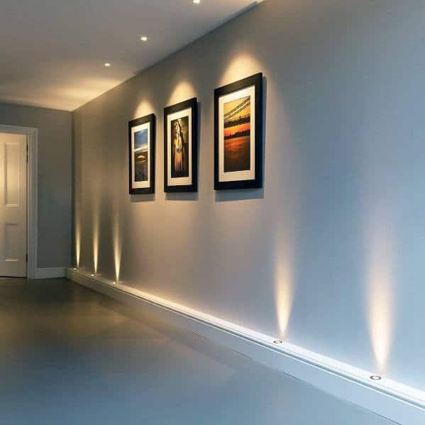 Unique Hallway Lighting Built Into Baseboard
