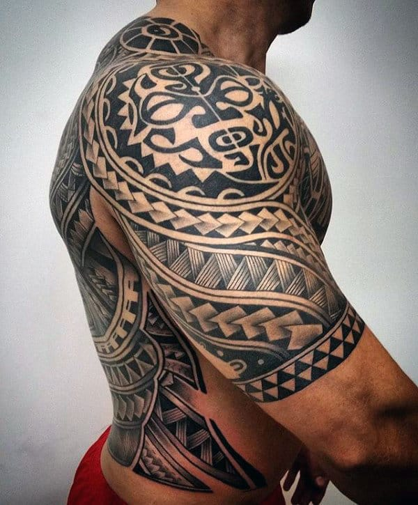 Unique Hawaiian Male Tribal Tattoos Half Sleeve
