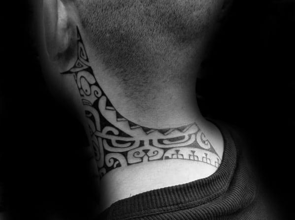 40 tribal neck tattoos for men manly ink ideas. Black Bedroom Furniture Sets. Home Design Ideas