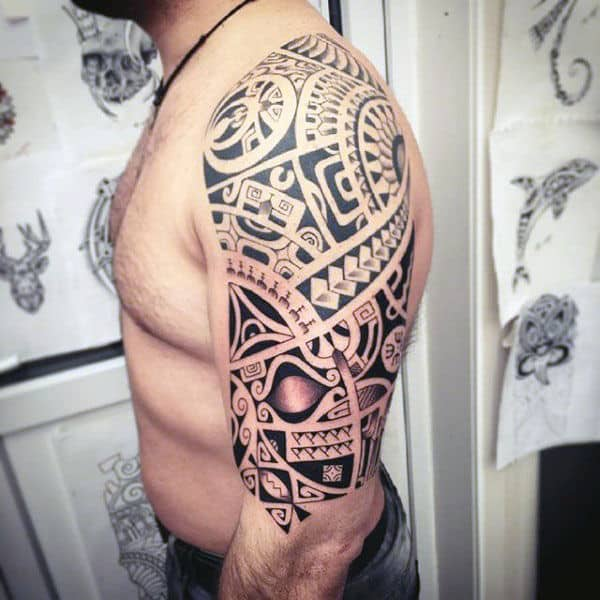 Unique Hawaiian Tribal Arm Sleeve Tattoos For Guys