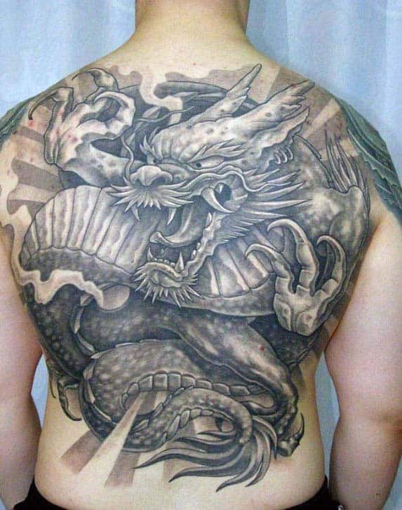Unique Heavily Shaded Japanese Dragon Back Tattoos For Males