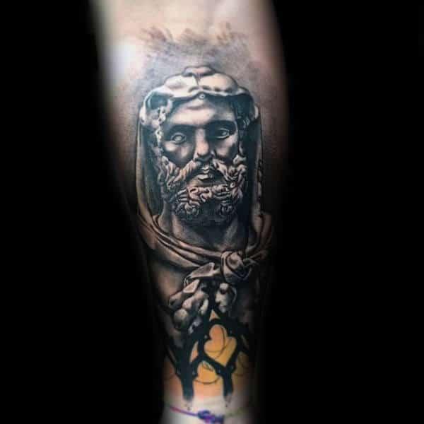 Unique Hercules Mens Inner Forearm Tattoo Design Inspiration