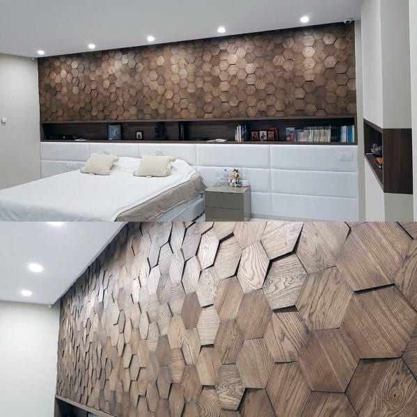 Unique Hexagon Geometric Pattern Ideas For Wood Walls