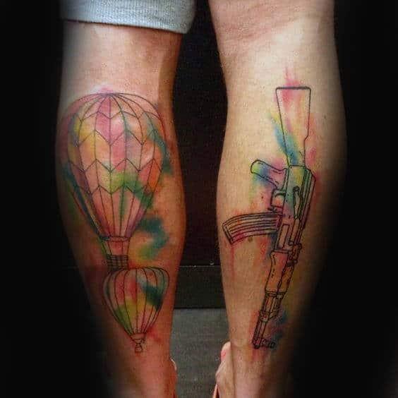 Unique Hot Air Balloon Leg Watercolor Male Tattoos