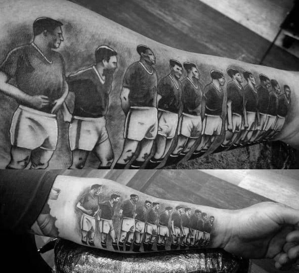 Unique Inner Forearm Soccer Team Mens Manchester United Tattoos