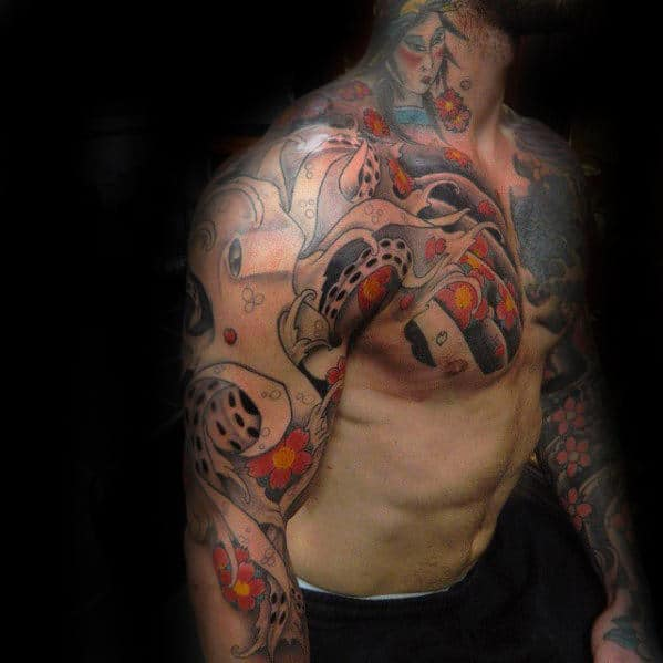 Unique Japanese Octopus Tattoo For Guys On Chest And Arm