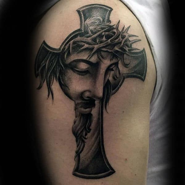 Unique Jesus Cross Guys Arm Tattoo Design Ideas