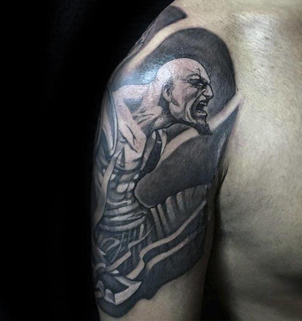 Unique Kratos Half Sleeve Tattoo Designs For Men