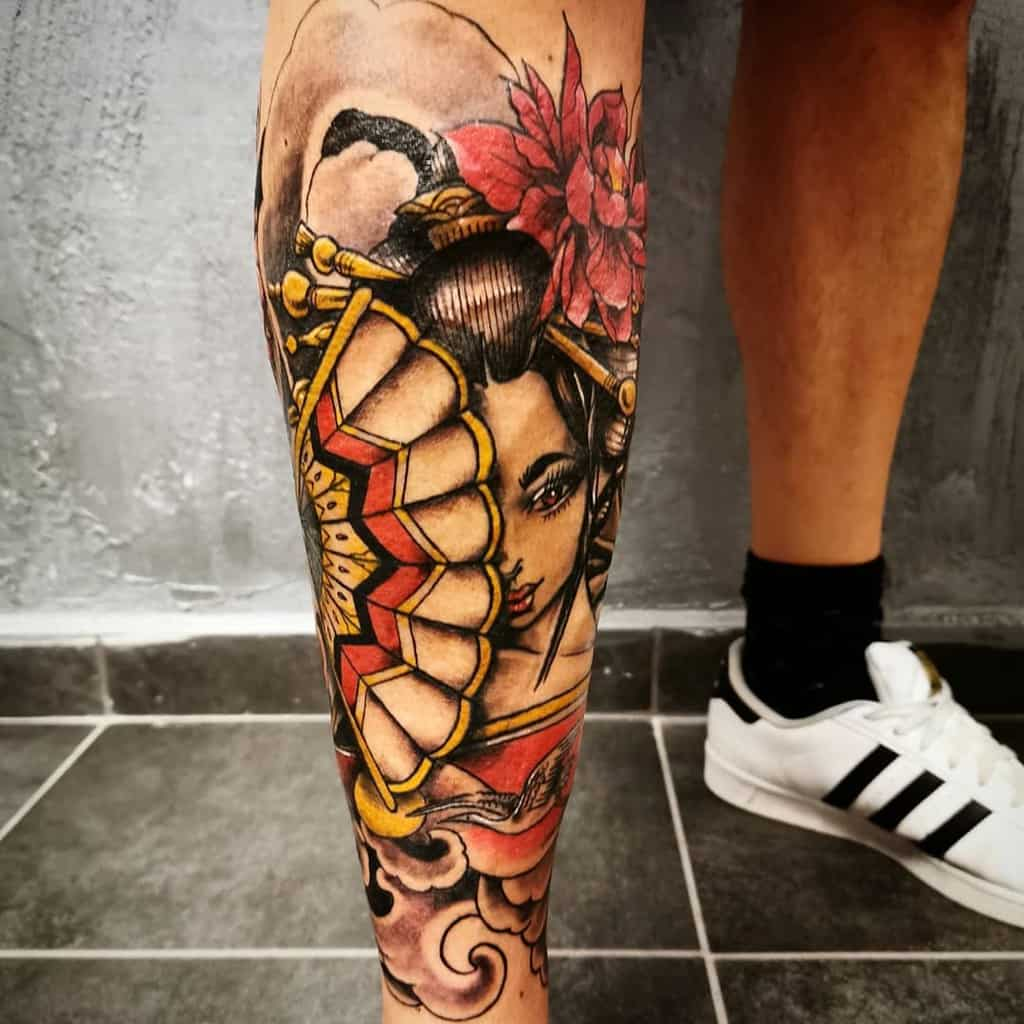 Unique Leg Awesome Color Japanese Geisha Tattoo