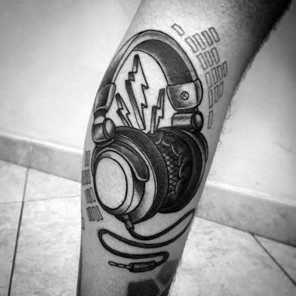 Unique Leg Headphones Tattoo Designs For Guys