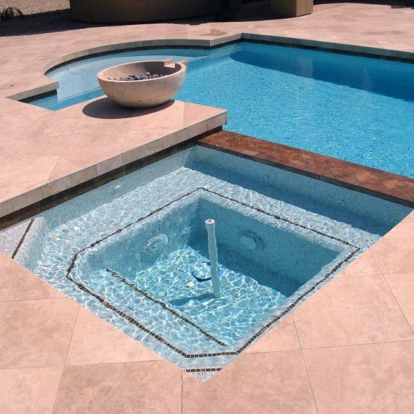 Unique Limestone Hot Tub Pool Tile Designs