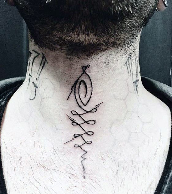 Unique Lines Guys Small Tattoo Designs On Front Of Neck