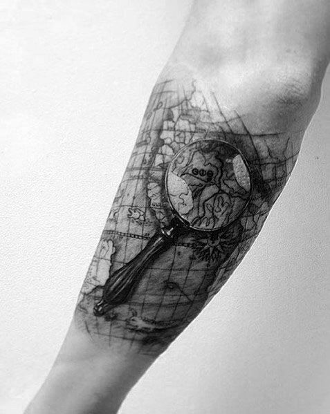 Unique Magnifying Glass Tattoos For Men