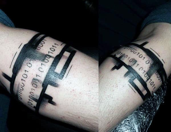 Unique Male Binary Armband Tattoo Designs