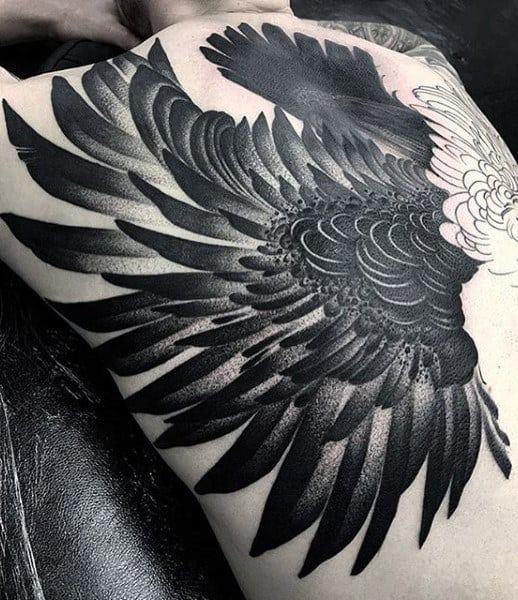 Unique Male Feather Black Ink Back Tattoos