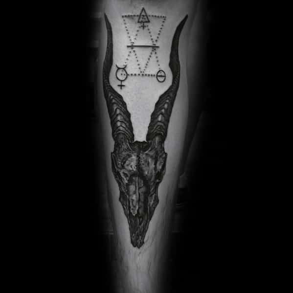 Unique Male Goat Skull Front Of Leg Tattoo Design Ideas