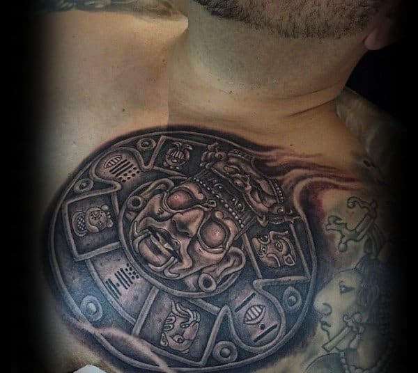 Unique Male Mayan Upper Chest Stone Tattoos